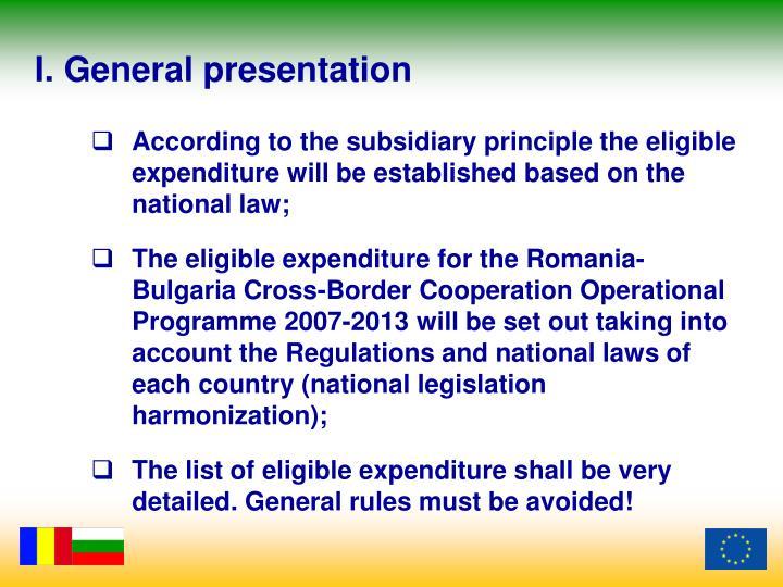 I. General presentation