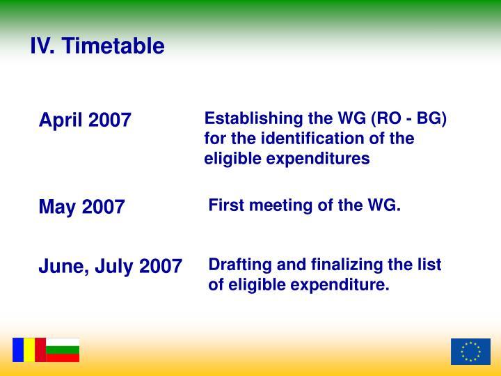 IV. Timetable