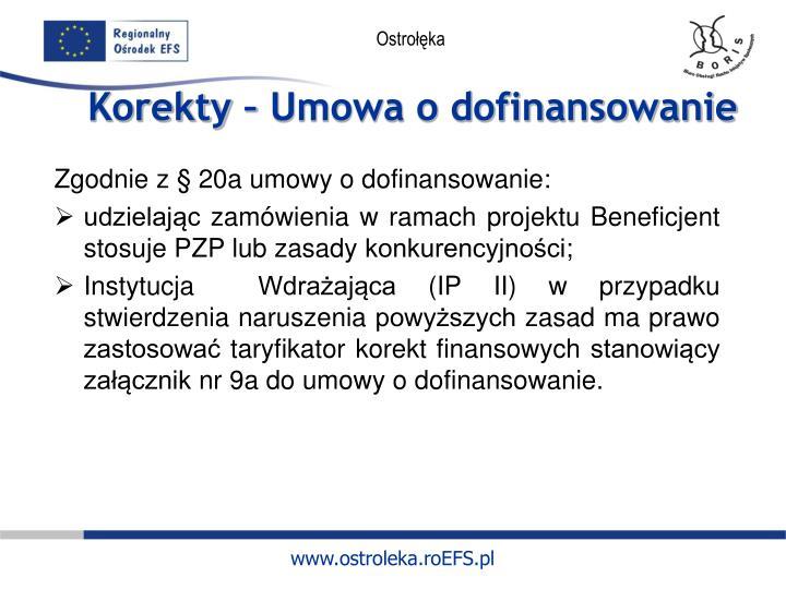 Zgodnie z § 20a umowy o dofinansowanie: