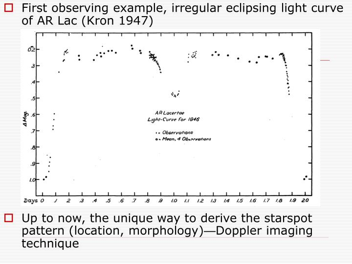 First observing example, irregular eclipsing light curve of AR Lac (Kron 1947)
