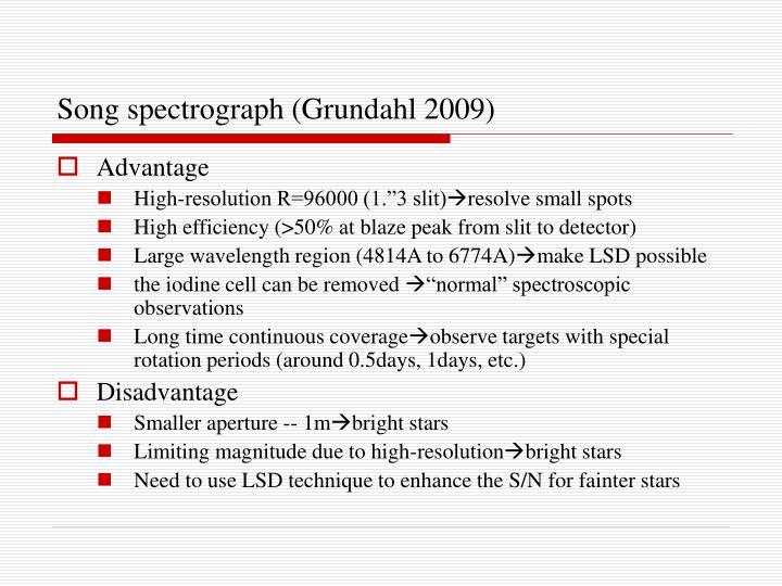 Song spectrograph (Grundahl 2009)