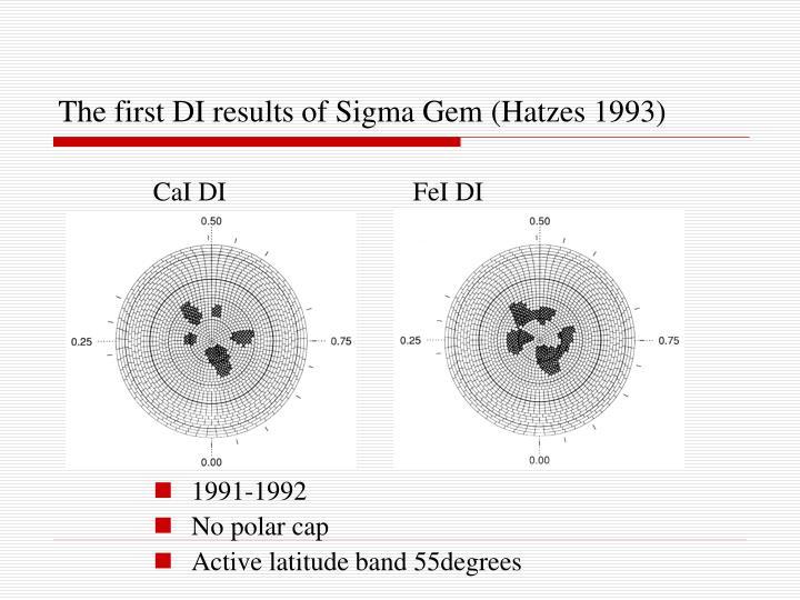 The first DI results of Sigma Gem (Hatzes 1993)