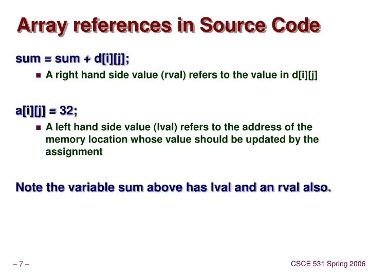 Array references in Source Code