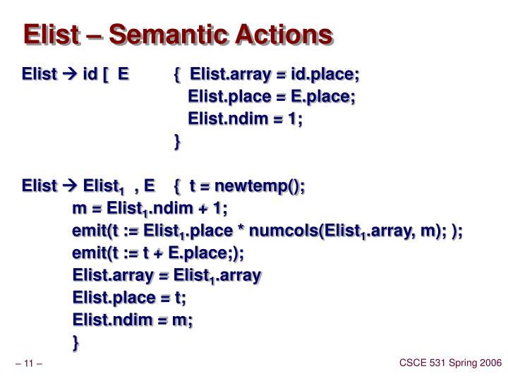 Elist – Semantic Actions