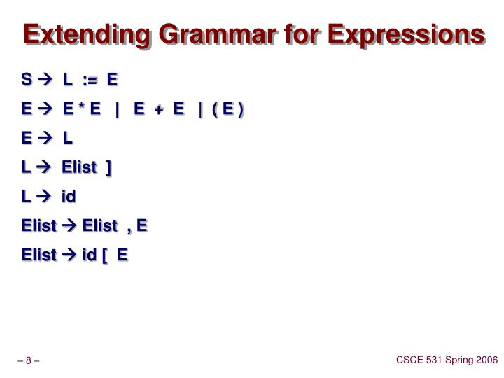 Extending Grammar for Expressions