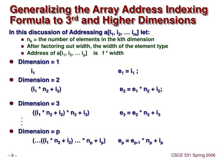 Generalizing the Array Address Indexing Formula to 3