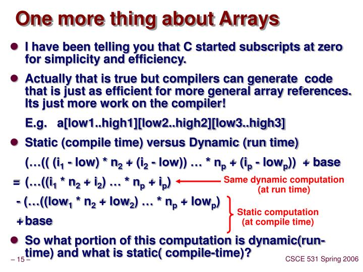 One more thing about Arrays