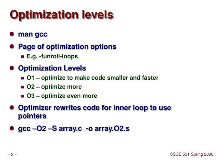 Optimization levels