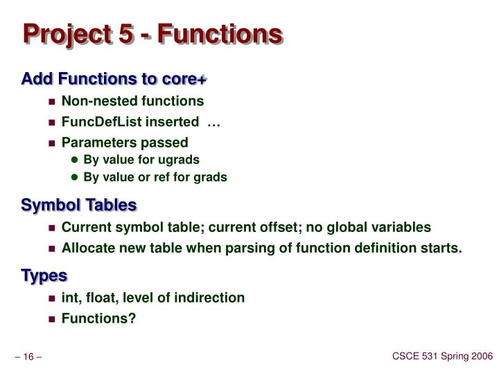 Project 5 - Functions