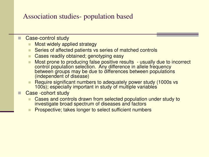 Association studies- population based