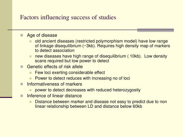 Factors influencing success of studies