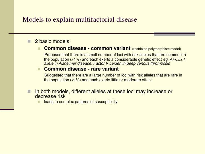 Models to explain multifactorial disease