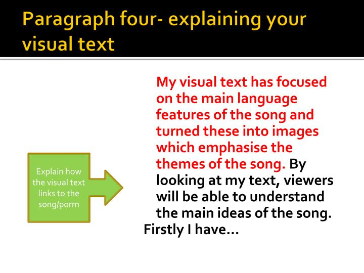 Paragraph four- explaining your visual text