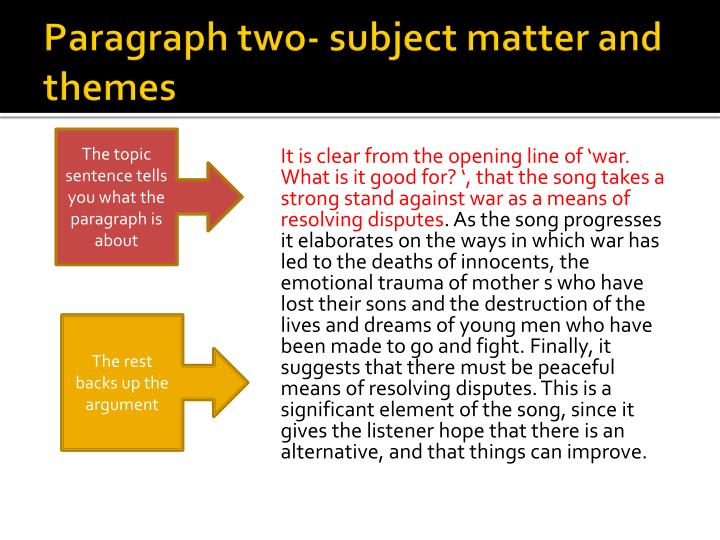 Paragraph two- subject matter and themes