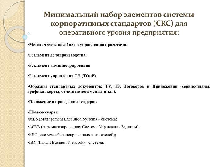 Минимальный набор элементов системы корпоративных стандартов (СКС)