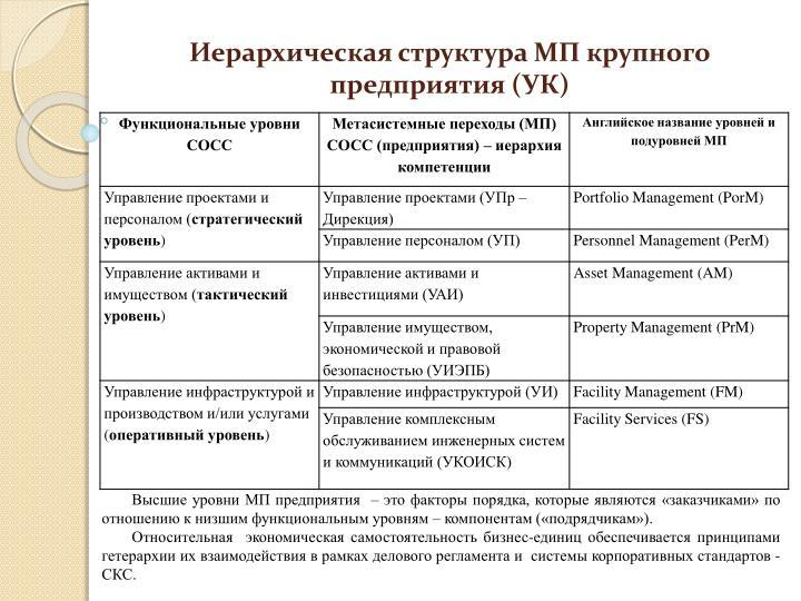Иерархическая структура МП крупного предприятия (УК)