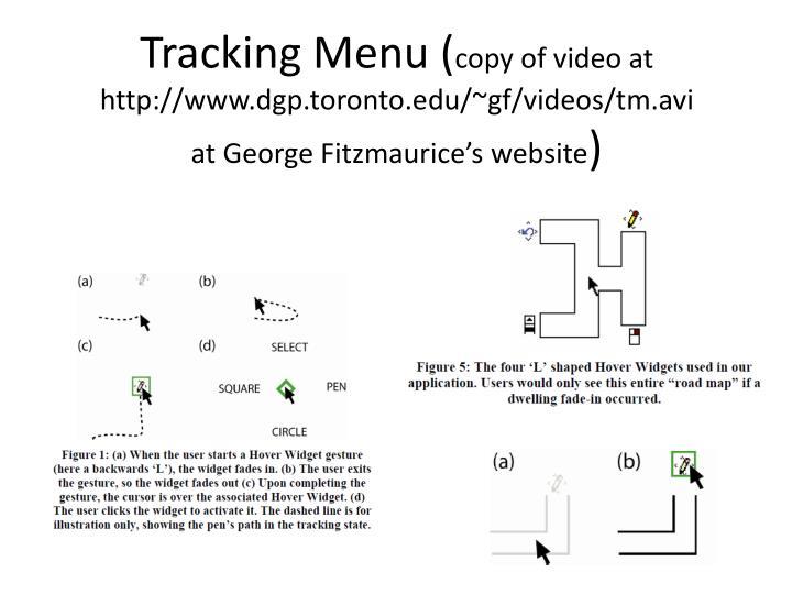 Tracking Menu (