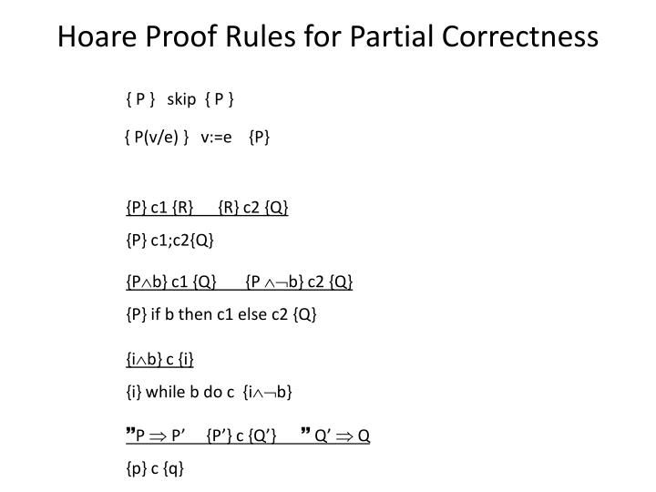 Hoare Proof Rules for Partial Correctness