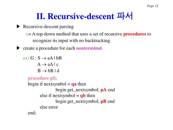 II. Recursive-descent