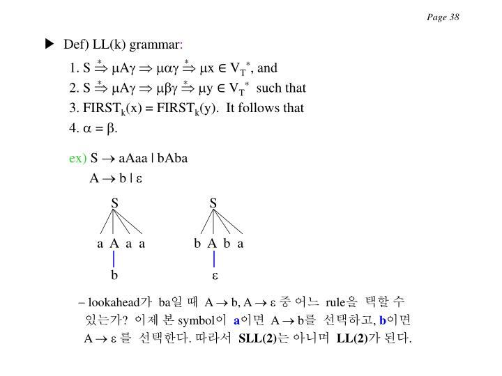 ▶  Def) LL(k) grammar
