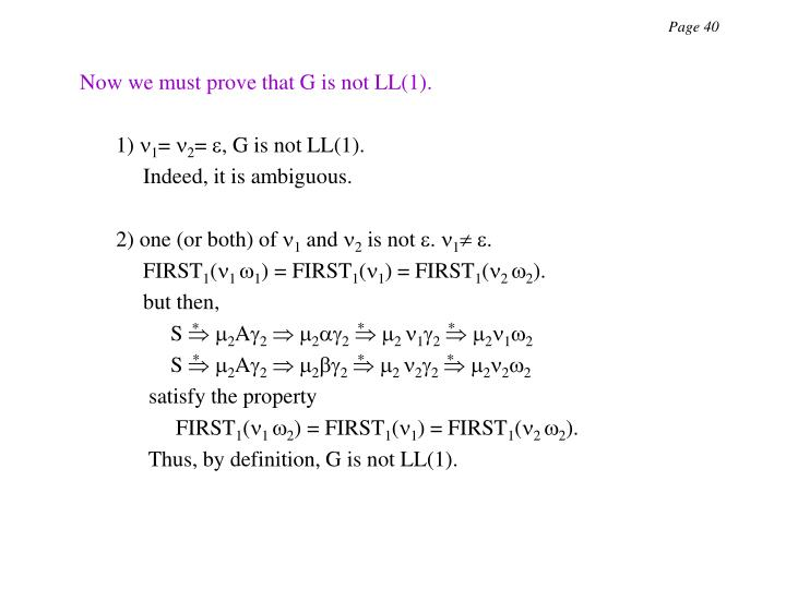 Now we must prove that G is not LL(1).