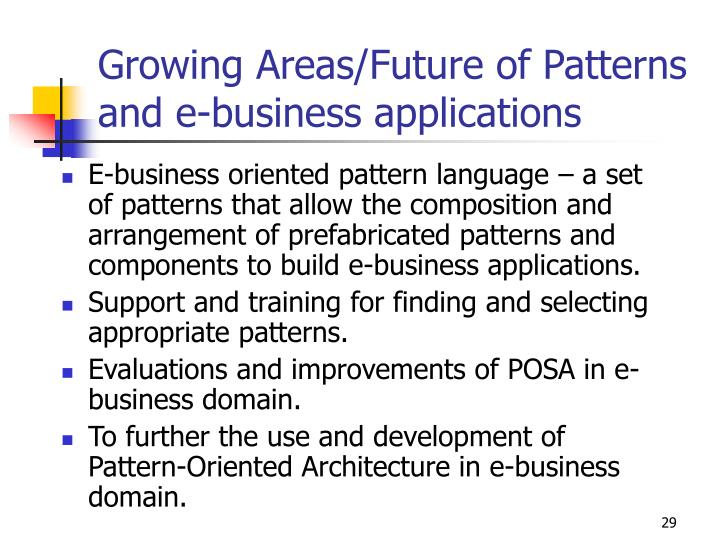 Growing Areas/Future of Patterns and e-business applications
