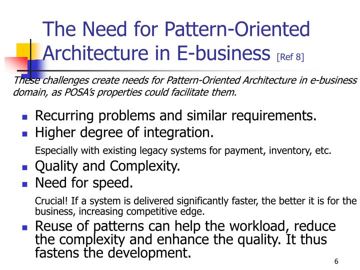 The Need for Pattern-Oriented Architecture in E-business