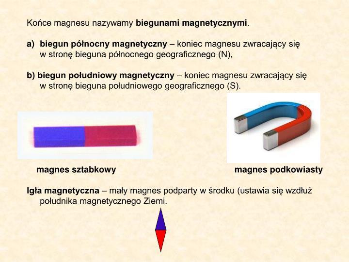 Końce magnesu nazywamy