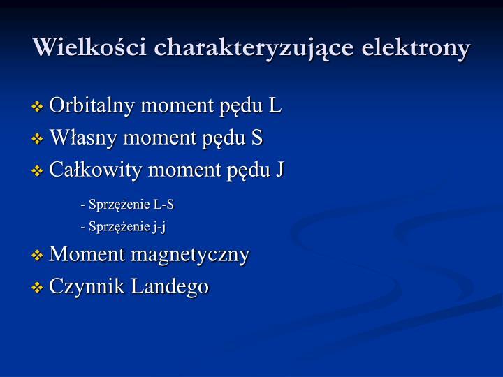 Wielkości charakteryzujące elektrony