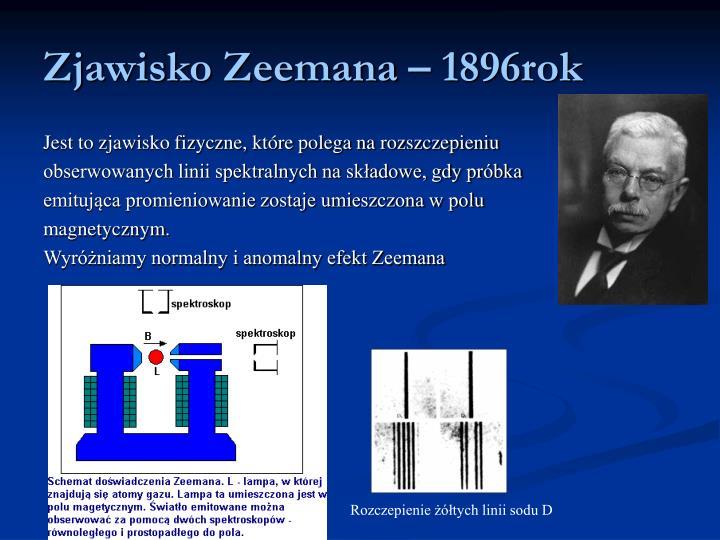 Zjawisko Zeemana – 1896rok