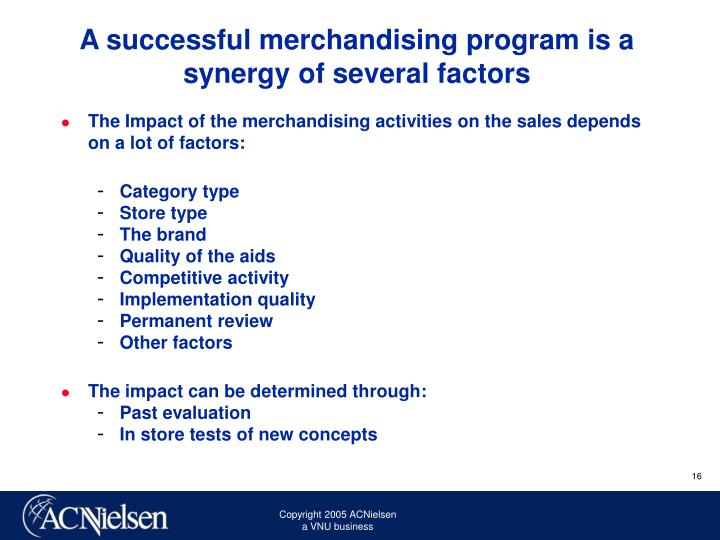 A successful merchandising program is a synergy of several factors