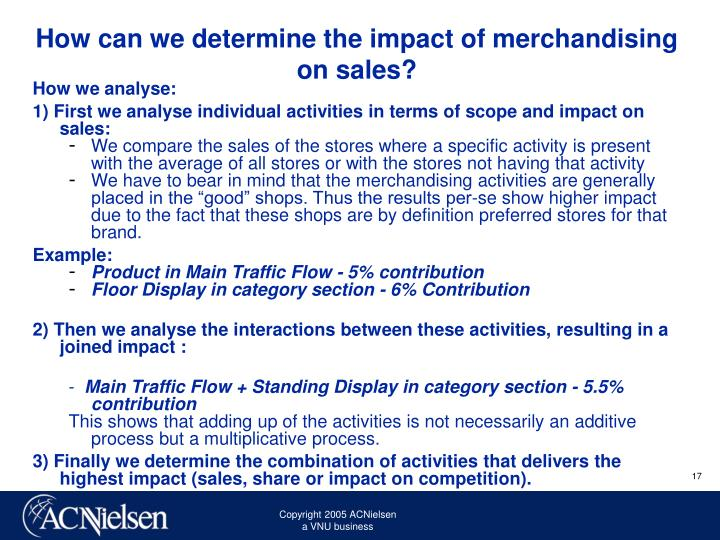 How can we determine the impact of merchandising on sales?