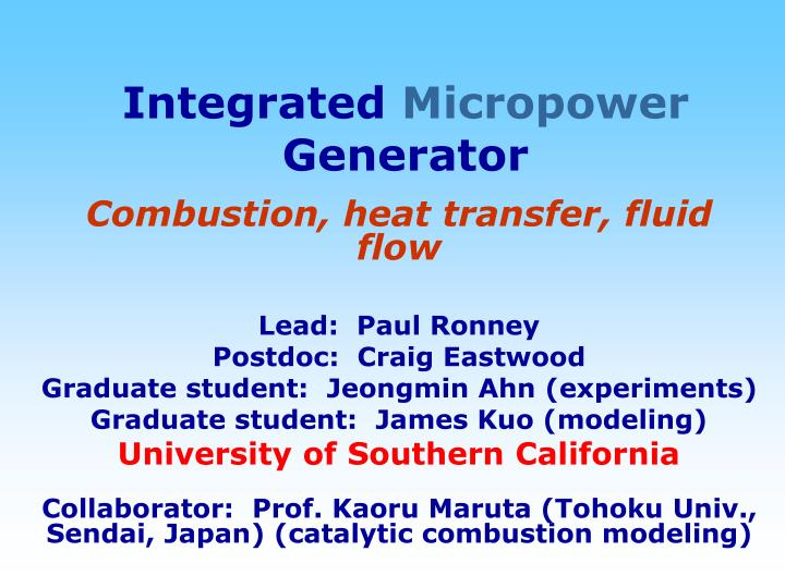 Integrated micropower generator
