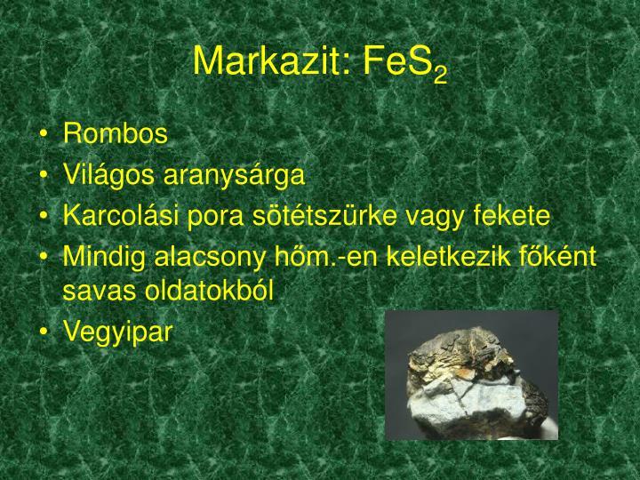 Markazit: FeS