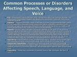 common processes or disorders affecting speech language and voice