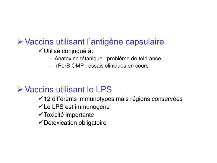 Vaccins utilisant l'antigène capsulaire