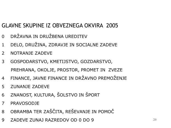 GLAVNE SKUPINE IZ OBVEZNEGA OKVIRA  2005