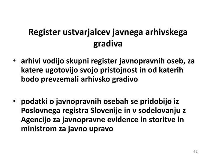 Register ustvarjalcev javnega arhivskega gradiva