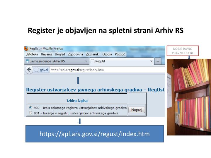 Register je objavljen na spletni strani Arhiv RS