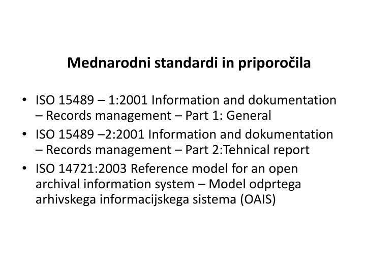 Mednarodni standardi in priporočila