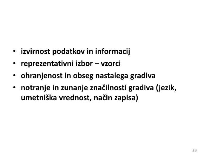 izvirnost podatkov in informacij