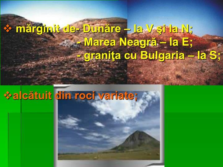 mărginit de- Dunăre – la V şi la N;