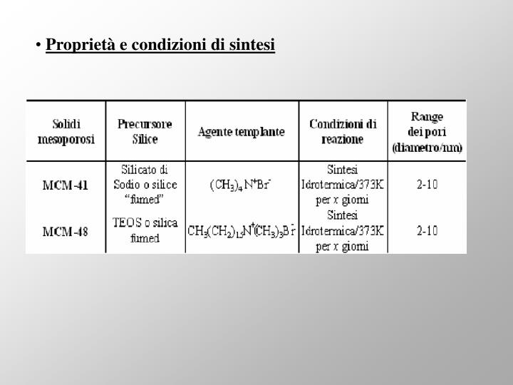 Proprietà e condizioni di sintesi