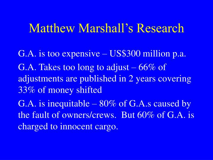 Matthew Marshall's Research