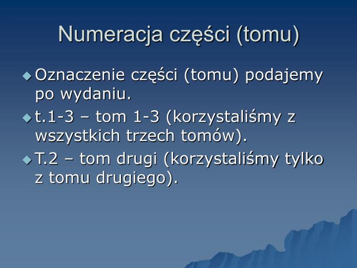Numeracja części (tomu)