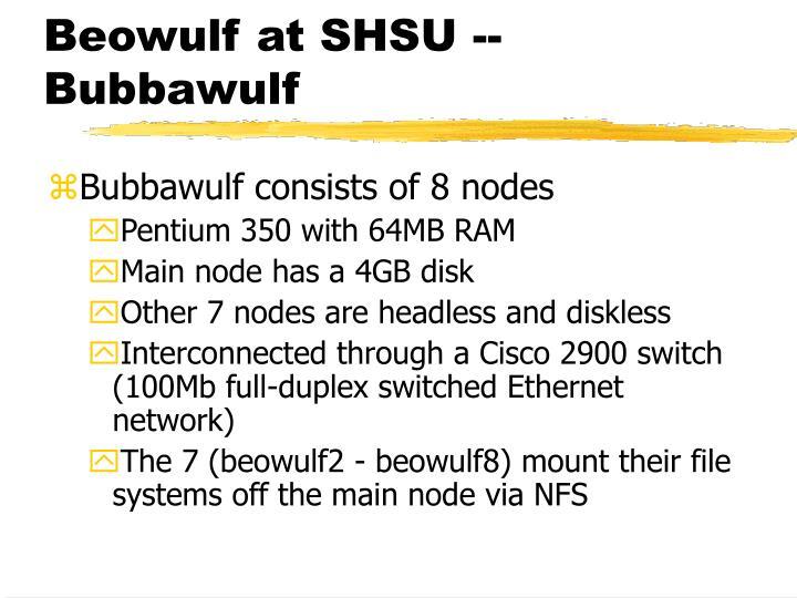 Beowulf at SHSU -- Bubbawulf