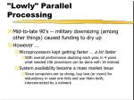 lowly parallel processing