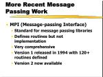 more recent message passing work