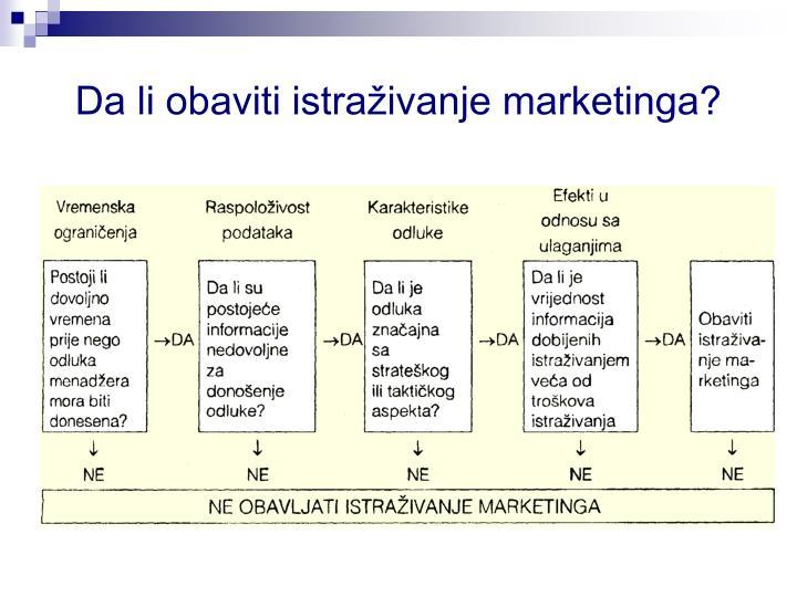 Da li obaviti istraživanje marketinga?