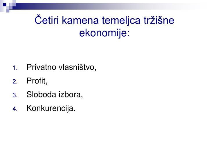 Četiri kamena temeljca tržišne ekonomije: